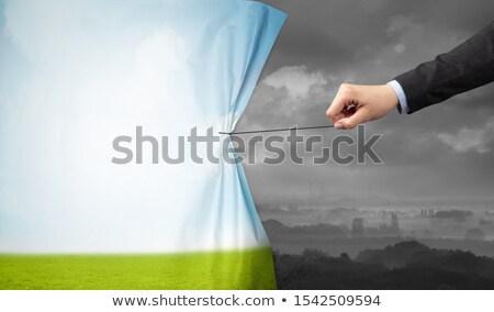 Kéz húz zöld tájkép függöny szürke Stock fotó © ra2studio