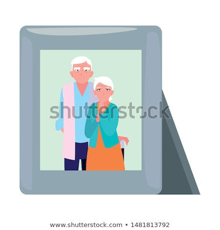 Senior Woman Picture Frame Illustration Stock photo © lenm