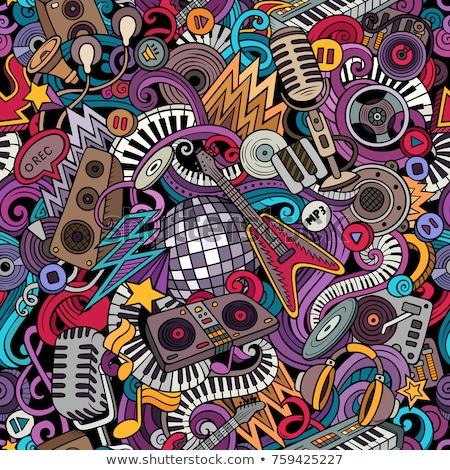 cartoon hand drawn disco music seamless pattern stock photo © balabolka