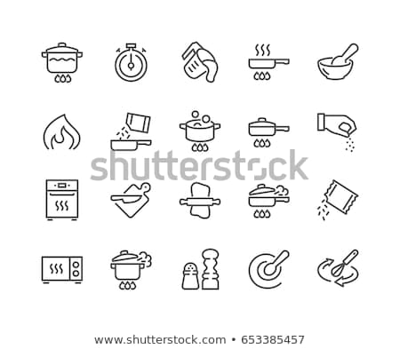 Fire on Hand Symbol Icon Vector Outline Illustration Stock photo © pikepicture