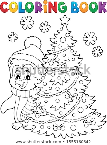 Coloring book Christmas penguin topic 6 Stock photo © clairev