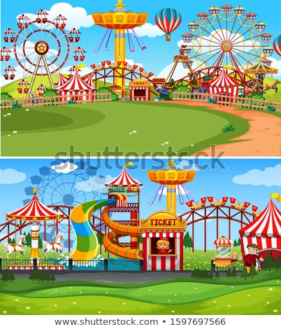 Two scenes of funpark with many rides Stock photo © bluering