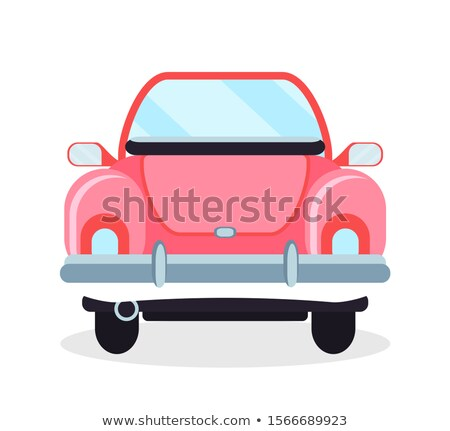 Cabriolet Back View, Pink Retro Automobile Vector Stock photo © robuart