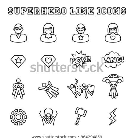 Super Hero Man Icon Vector Outline Illustration Stock photo © pikepicture