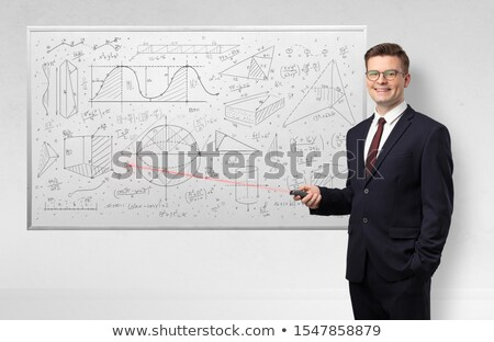 Professor on whiteboard teaching geometry Stock photo © ra2studio