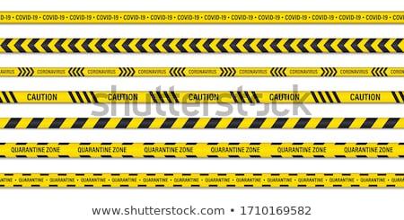 Blijven home Geel lint huis werk Stockfoto © SArts