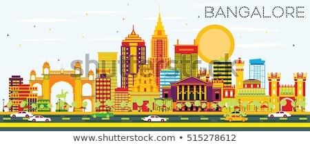 Bangalore Skyline with Color Buildings and Blue Sky. Stock photo © ShustrikS