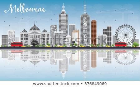 Melbourne linha do horizonte cinza edifícios blue sky Foto stock © ShustrikS