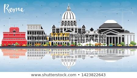 Róma sziluett szín épületek kék ég tükröződések Stock fotó © ShustrikS