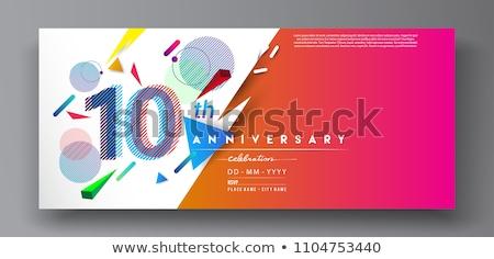 Feiern Jahrestag Werbung Plakat Vektor Champagner Stock foto © pikepicture
