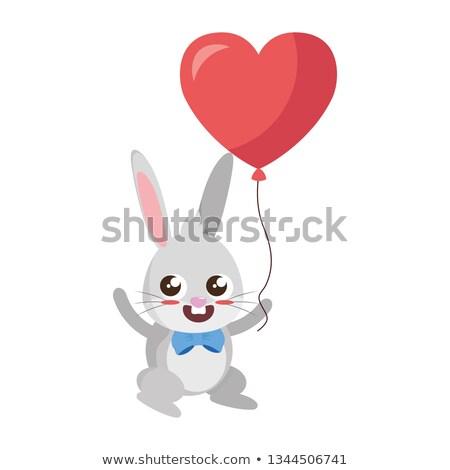 Mooie konijn hart ballon helium Pasen Stockfoto © yupiramos