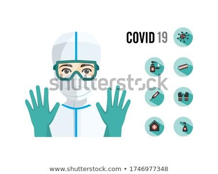 Jovem médico do sexo masculino sanitário proteção saúde ícones Foto stock © Imaagio