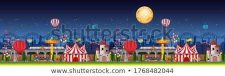 Pretpark scène nacht ballonnen maan panorama Stockfoto © bluering