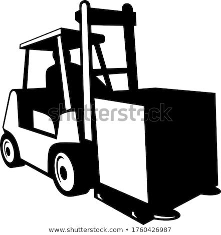Ciężarówka operacja front retro czarno białe Zdjęcia stock © patrimonio