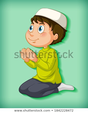 мусульманских мальчика молиться цвета градиент иллюстрация Сток-фото © bluering