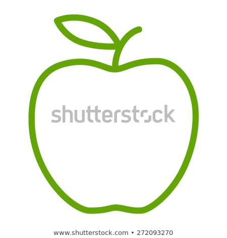 Stock photo: Green Line Art Apple