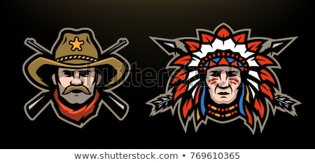 indian chief mascot head vector graphic stock photo © chromaco