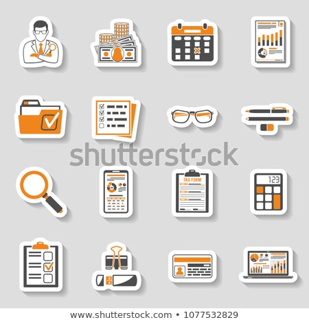 Vector laptop with sticker icon Stock photo © m_pavlov