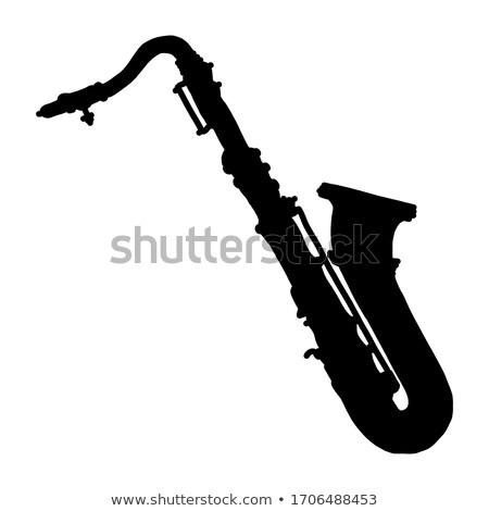 саксофон · силуэта · изолированный · золото · Spotlight · горизонтальный - Сток-фото © mkm3