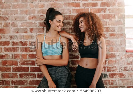 beautiful smiling young black girl after fitness stock photo © darrinhenry