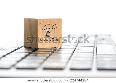 bilmece · kelime · başarı · puzzle · parçaları · el · inşaat - stok fotoğraf © dacasdo