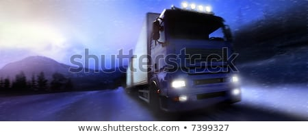truck driving on country roadphotographic retouching stock photo © mikdam