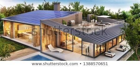 écologique · maison · dessin · photovoltaïque · construction · soleil - photo stock © xedos45