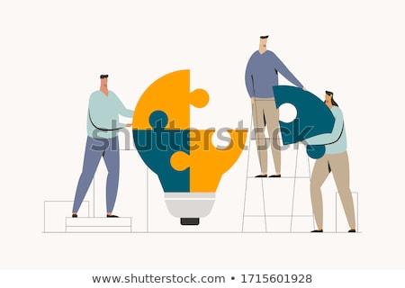 Vecteur puzzle solution résumé fond bleu Photo stock © orson