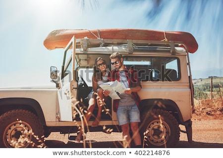 байдарках · пляж · женщины · счастливым · пару - Сток-фото © photography33