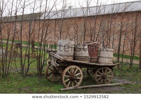 Wagon wheel against a brick wall Stock photo © g215