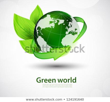 földgömb · zöld · nyilak · illusztráció · absztrakt · kék - stock fotó © wad