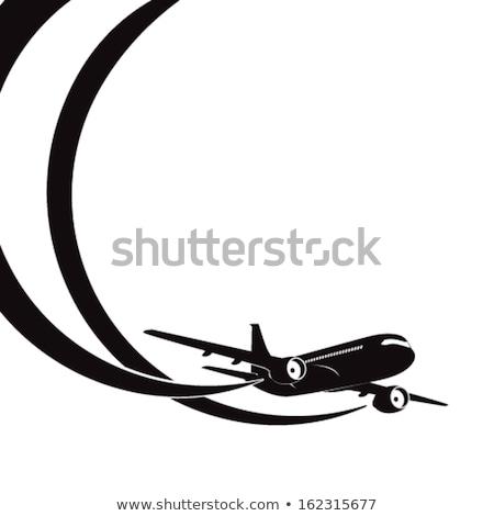Jet silhouette ciel bleu Voyage sunrise Photo stock © mechanik