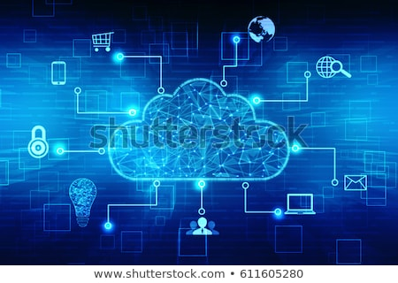 Blauw internet cloud icoon moderne laptop Stockfoto © oblachko