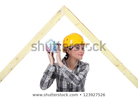mischievous female joiner holding miniature house stock photo © photography33