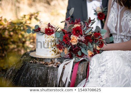 Stock fotó: Wedding Bouquet And Cake