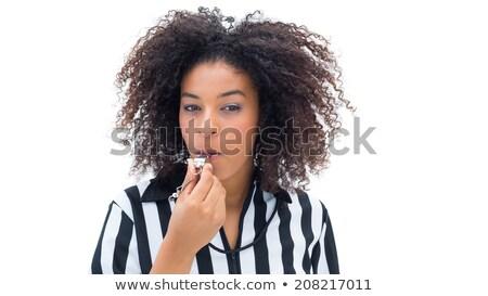 Mujer hermosa silbar fútbol camisa Foto stock © Rob_Stark