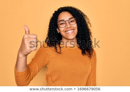 若い女性 · ボード · はい · 幸せ · 肖像 · 女性 - ストックフォト © photography33
