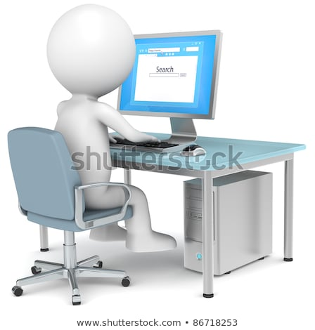 3d little human character and a browser window stock photo © johanh