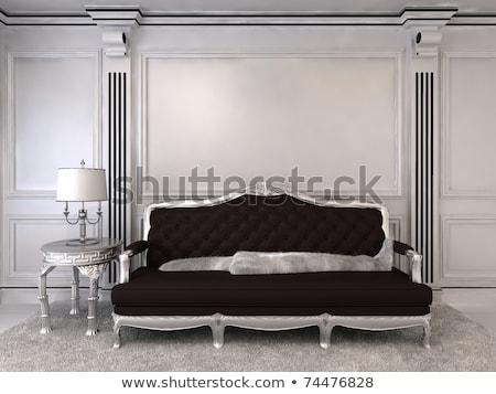 Modern black sofa in royal interior apartment space Stock photo © Victoria_Andreas