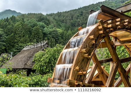 water wheel on old grist mill in forest stock photo © cozyta