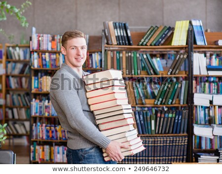 portré · férfi · nagy · köteg · könyvek · izolált - stock fotó © pzaxe