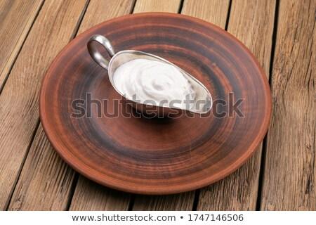 Krem gıda kırmızı yakın çekim Stok fotoğraf © crisp