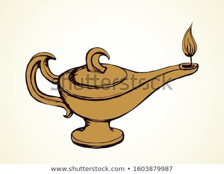 ストックフォト: 古い · 燃焼 · 石油ランプ · 図書 · 紙 · 表