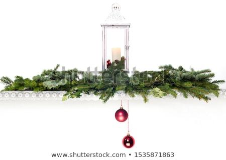 lantern with two hanging christmas balls stock photo © rob_stark