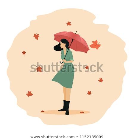 sylwetka · szalik · dziewczyna · moda · cień - zdjęcia stock © carodi