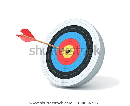 Foto stock: Dart Hitting A Target Isolated On White
