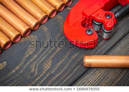 Encanador cobre tubo textura mão Foto stock © photography33