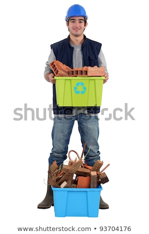 young bricklayer holding recycling tub Stock photo © photography33