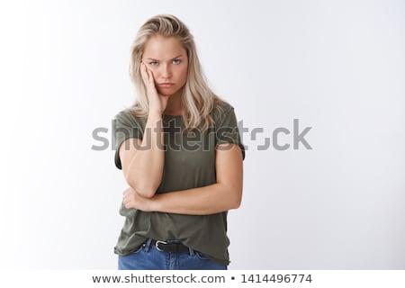 Portret mokkend jonge vrouw geïsoleerd witte gezicht Stockfoto © acidgrey