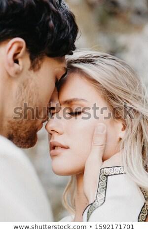 молодые страстный пару портрет изолированный белый Сток-фото © acidgrey